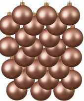 24x roze kerstballen 6 cm matte glas kerstversiering