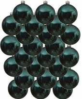 24x turkoois blauwe kerstballen 8 cm glanzende glas kerstversiering