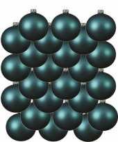24x turkoois blauwe kerstballen 8 cm matte glas kerstversiering