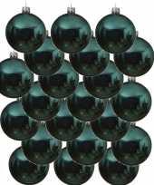 24x turkooise kerstballen 6 cm glanzende glas kerstversiering