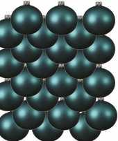 24x turquoise blauwe kerstballen 6 cm matte glas kerstversiering