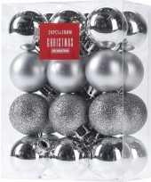 24x zilveren kerstballen 3 cm glanzende matte glitters kunststof kerstversiering