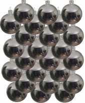 24x zilveren kerstballen 6 cm glanzende glas kerstversiering