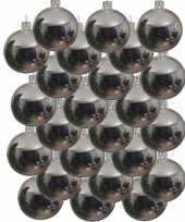 24x zilveren kerstballen 8 cm glanzende glas kerstversiering