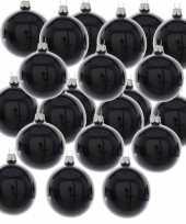 24x zwarte kerstballen 6 cm glanzende glas kerstversiering