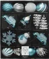 25x ijsblauwe witte grijsblauwe kerstballen hangdecoratie ornamenten kunststof plastic kerstversiering