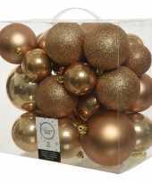 26 stuks camel bruine kerstballen 6 8 10 cm kunststof