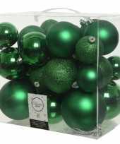 26 stuks kerst groene kerstballen 6 8 10 cm kunststof