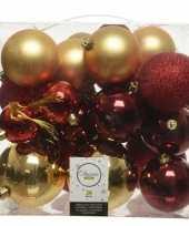 26 stuks kunststof kerstballen mix goud rood 6 8 10 cm