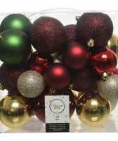 26 stuks kunststof kerstballen mix rood groen goud parel 6 8 10 cm
