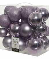 26 stuks lila paarse kerstballen 6 8 10 cm kunststof