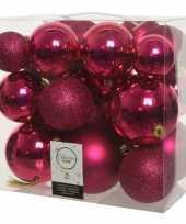 26x stuks bessen roze kerstballen 6 8 10 cm kunststof