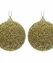2x gouden kerstballen 8 cm glitters kraaltjes kunststof kerstversiering
