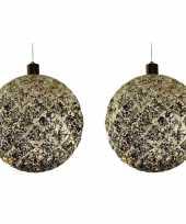 2x grote gouden verlichte decoratie kerstballen 20 cm