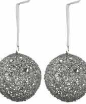 2x kerstboomversiering linnen kerstballen zilver 15 cm