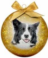 2x kunststof dieren kerstballen met border collie hond 8 cm