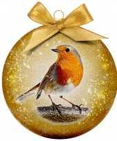 2x kunststof dieren kerstballen met vogel 8 cm