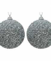 2x zilveren kerstballen 8 cm glitters kraaltjes kunststof kerstversiering