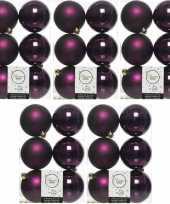 30x aubergine paarse kerstballen 8 cm glanzende matte kunststof plastic kerstversiering