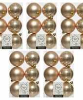 30x donker parel champagne kerstballen 8 cm glanzende matte kunststof plastic kerstversiering