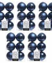 30x donkerblauwe kerstballen 8 cm glanzende matte kunststof plastic kerstversiering