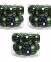 30x donkergroene glazen kerstballen 6 cm glans en mat 10219507