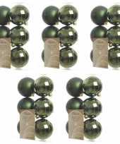 30x donkergroene kerstballen 8 cm glanzende matte kunststof plastic kerstversiering