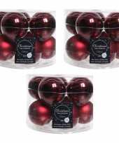 30x donkerrode glazen kerstballen 6 cm glans en mat