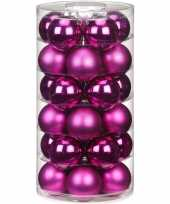 30x fuchsia glazen kerstballen 6 cm glans en mat