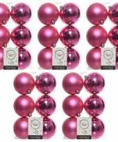 30x fuchsia roze kerstballen 8 cm glanzende matte kunststof plastic kerstversiering