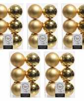 30x gouden kerstballen 8 cm glanzende matte kunststof plastic kerstversiering