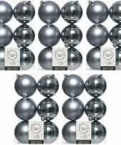 30x grijsblauwe kerstballen 8 cm glanzende matte kunststof plastic kerstversiering