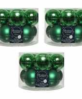 30x kerst groene glazen kerstballen 6 cm glans en mat