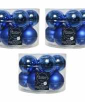 30x kobalt blauwe glazen kerstballen 6 cm glans en mat