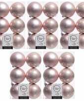 30x licht roze kerstballen 8 cm glanzende matte kunststof plastic kerstversiering
