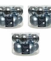 30x lichtblauwe glazen kerstballen 6 cm glans en mat