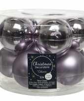 30x lila paarse glazen kerstballen 6 cm glans en mat