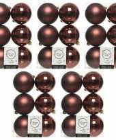 30x mahonie bruine kerstballen 8 cm glanzende matte kunststof plastic kerstversiering