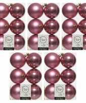 30x oud roze kerstballen 8 cm glanzende matte kunststof plastic kerstversiering