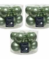 30x salie groene glazen kerstballen 6 cm glans en mat