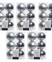 30x zilveren kerstballen 8 cm glanzende matte kunststof plastic kerstversiering