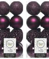 32x aubergine paarse kerstballen 6 cm glanzende matte glitter kunststof plastic kerstversiering