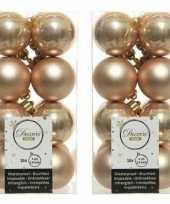 32x donker parel champagne kerstballen 4 cm glanzende matte kunststof plastic kerstversiering