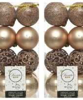 32x donker parel champagne kerstballen 6 cm glanzende matte glitter kunststof plastic kerstversiering