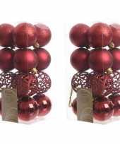 32x donkerrode kerstballen 6 cm glanzende matte glitter kunststof plastic kerstversiering