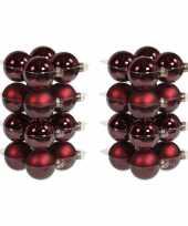32x donkerrode kerstballen 8 cm glas kerstversiering combi