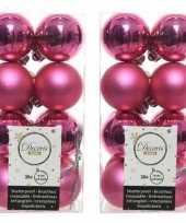 32x fuchsia roze kerstballen 4 cm glanzende matte kunststof plastic kerstversiering