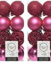 32x fuchsia roze kerstballen 6 cm glanzende matte glitter kunststof plastic kerstversiering