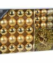 32x gouden kerstballen 4 5 8 cm en kerstslinger folieslinger matte glanzende glitters kunststof plastic kerstversiering