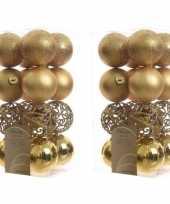 32x gouden kerstballen 6 cm glanzende matte glitter kunststof plastic kerstversiering